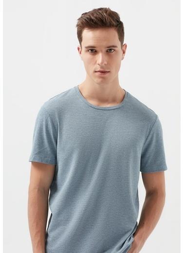 Mavi Dokulu Basic Tişört Mavi